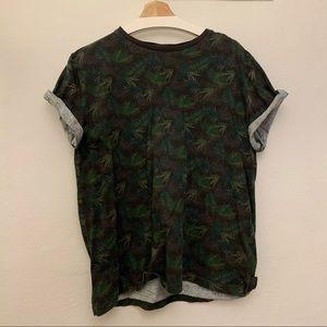 Outrage London Black Label Leaf Print T-Shirt